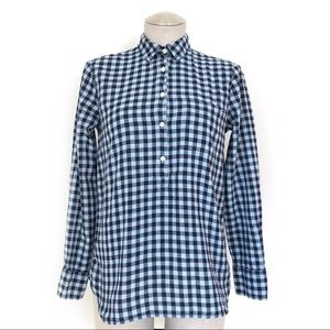 J. Crew Factory Navy Blue Gingham Popover Size XS